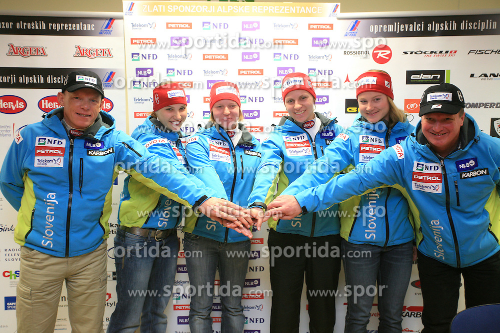Marko Jurjec, Mateja Robnik, Marusa Ferk, Vanja Brodnik, Ana Drev and Bozo Jaklin at press conference of Women Slovenian alpine team before the World Championship in Val d'Isere, France, on January 26, 2009, in Ljubljana, Slovenia. (Photo by Vid Ponikvar / Sportida).