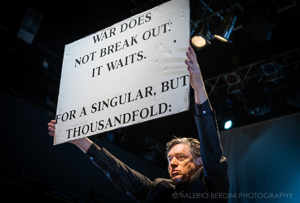 Blixa Bargeld of German band Einsturzende Neubauten performing their new album, Lament, at Koko in London on 19 November 2014.