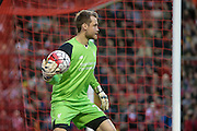 Simon Mignolet (Liverpool) during the Barclays Premier League match between Liverpool and Chelsea at Anfield, Liverpool, England on 11 May 2016. Photo by Mark P Doherty.
