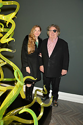 Artist DALE CHIHULY and his wife LESLIE CHIHULY at a private view of work by artist Dale Chihuly: Beyond the Object was held at The Halcyon Gallery 144-146 New Bond Street, London on 5th February 2014.
