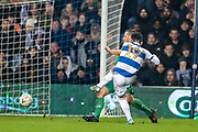 Queens Park Rangers midfielder Ilias Chair (19) shoots towards the goal during the The FA Cup match between Queens Park Rangers and Sheffield Wednesday at the Kiyan Prince Foundation Stadium, London, England on 24 January 2020.