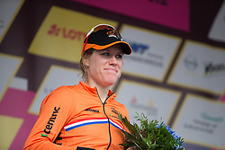 As Amy Pieters (NED) was taken to the hospital to treat her wounds, her Team Netherlands teammate Ellen van Dijk (NED) picked up the sprint jersey after Stage 5 of the Lotto Thuringen Ladies Tour - a 108.3 km road race, starting and finishing in Greiz on July 17, 2017, in Thuringen, Germany. (Photo by Balint Hamvas/Velofocus.com)