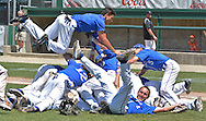 (WORCESTER MA 061816)-The Pope John Paul II Lions celebrate their 8-7 win over Oxford. Herald photo by Chris Christo