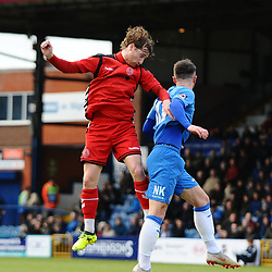 TELFORD COPYRIGHT MIKE SHERIDAN 16/2/2019 - James McQuilkin of AFC Telford battles for a header with Matthew Warburton of Stockport during the Vanarama Conference North fixture between Stockport County and AFC Telford United at Edgeley Park
