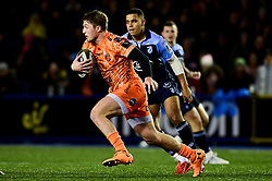 Tyler Morgan of Dragons makes a break - Ryan Hiscott/JMP - 26/12/19 - SPORT - Arms Park - Cardiff, Wales - Thursday, Dec 26 2019 - Guinness PRO14 Cardiff Blues vs Dragons