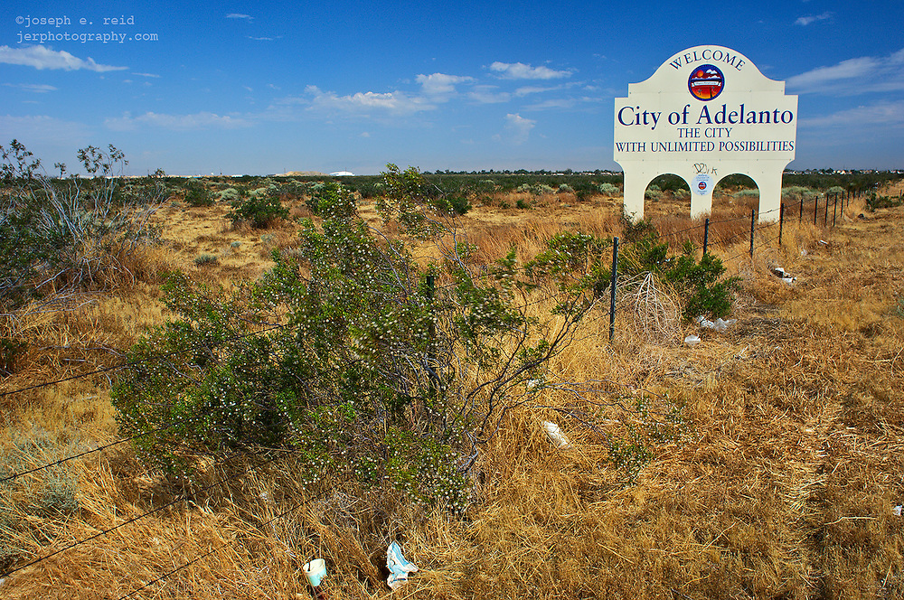 City of Adelanto sign by roadside, Adelanto, California, US