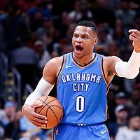 09 November 2017: Oklahoma City Thunder guard Russell Westbrook (0) reacts during the Denver Nuggets 102-94 victory over the Oklahoma City Thunder, at the Pepsi Center, Denver, Colorado, USA.