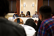 """Panelists speak on the topic of """"Creating Impact and Staying Engaged While in College"""" during the Black Excellence Youth Conference at the Best Western Plus Inntowner on Monday, Jan. 15, 2018."""