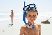 Boy With Snorkel on Beach