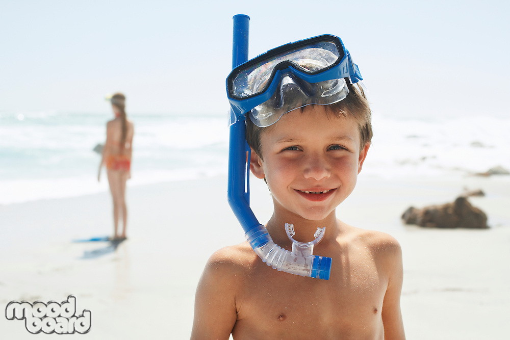 Boy With Snorkel on Beach