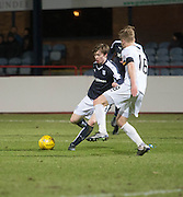 Dundee&rsquo;s Craig Wighton takes on Dumbarton&rsquo;s Jamie Lindsay - Dundee v Dumbarton, William Hill Scottish Cup Fifth Round at Dens Park<br /> <br />  - &copy; David Young - www.davidyoungphoto.co.uk - email: davidyoungphoto@gmail.com