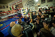 Friday, Nov. 18th, 2011 WBA super middleweight champ Andre Ward (24-0, 13 KOs) and his trainer Virgil Hunter along with promotor Dan Goossen attend King's Boxing Gym in Oakland, CA to address the media for Ward's upcoming final of the SHOWTIME Super SixWorld Boxing Classic and world championship unification bout against WBC champion Carl Froch (28-1, 20 KOs).