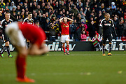 Nottingham Forest forward Jamie Ward misses a last minute attempt when through one on one during the The FA Cup fourth round match between Nottingham Forest and Watford at the City Ground, Nottingham, England on 30 January 2016. Photo by Simon Davies.