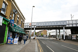 © Licensed to London News Pictures. 25/04/2019. London, UK. Hill's New Point newsagent on Leytonstone High Road, Waltham Forest in East London. Two men were stabbed multiple times at a bus stop next to Hill's New Point newsagent close to Leytonstone High Road overground station just before 8pm on Wednesday 24 April 2019. A man in his 20s remains in a hospital in a critical condition. Photo credit: Dinendra Haria/LNP