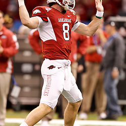 January 4, 2011; New Orleans, LA, USA;  Arkansas Razorbacks quarterback Tyler Wilson (8) during warm ups prior to kickoff of the 2011 Sugar Bowl against the Ohio State Buckeyes at the Louisiana Superdome.  Mandatory Credit: Derick E. Hingle