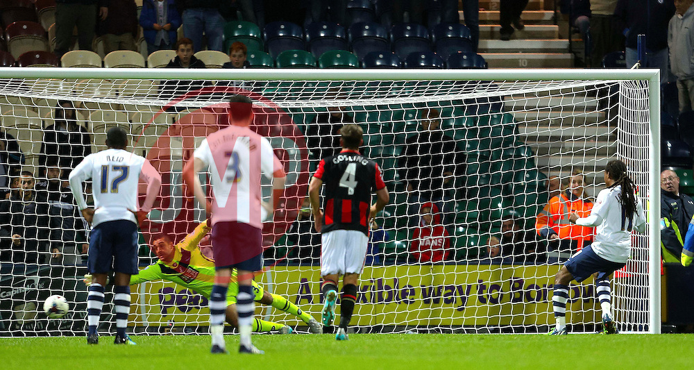 Daniel Johnson of Preston North End scores the equaliser from the penalty spot, 2-2  - Mandatory byline: Matt McNulty/JMP - 07966386802 - 22/09/2015 - FOOTBALL - Deepdale Stadium -Preston,England - Preston North End v Bournemouth - Capital One Cup - Third Round