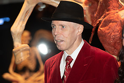 © Licensed to London News Pictures. 04/10/2018. London, UK. Dr Gunther von Hagens takes part in the launch of Body Worlds exhibition. The German anatomist invented plastination and is known for pioneering work on corpses. Photo credit: Ray Tang/LNP