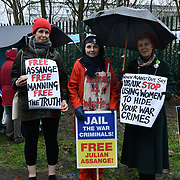 Hundreds of human rights Activists protesting outside the Woolwich Crown Court on an extradition hearing of WikiLeaks Founder Julian Assange. Journalist demand for a freedom of press and Julian Assange extradition hearing will pull Journalist in danger for reporting truth on 24th Feb 2020, London, UK.