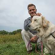 BOYDS, MD - SEP09: Matt Moores, USMC retired with his service dog James, at the Warrior Canine Connection in Boyds, Maryland.  (Photo by Evelyn Hockstein/For The Washington Post)