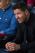 Diego Pablo Simeone wait for the match during the La Liga match between Barcelona and Atletico Madrid at Camp Nou, Barcelona, Spain on 21 September 2016. Photo by Eric Alonso.