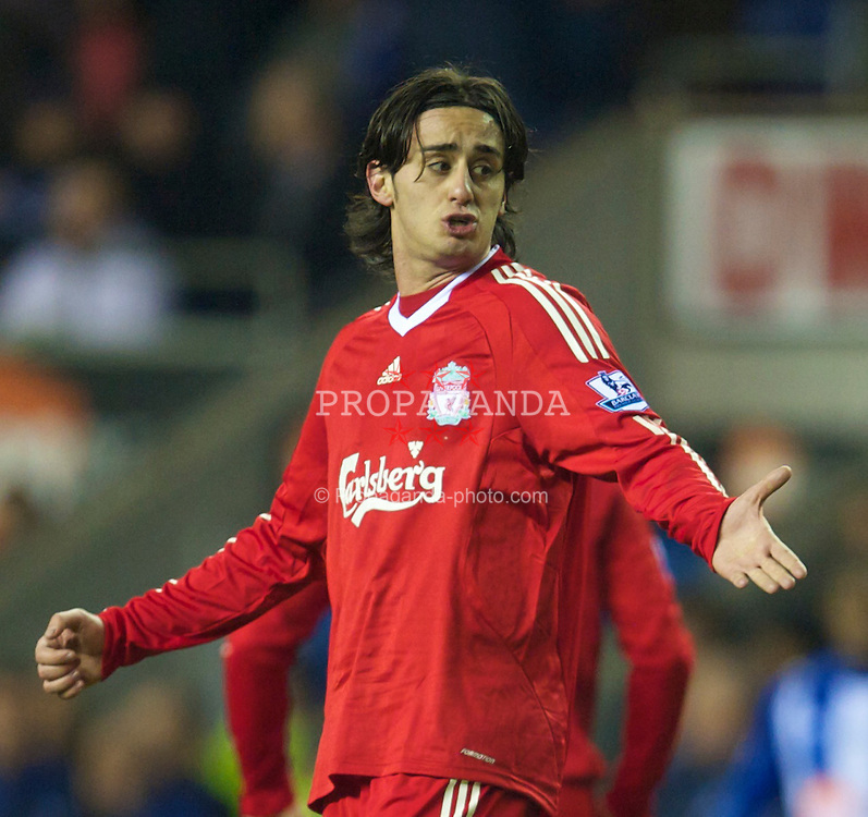 WIGAN, ENGLAND - Monday, March 8, 2010: Liverpool's Alberto Aquilani looks dejected as his side suffer an embarrassing defeat to lowly Wigan Athletic during the Premiership match at the DW Stadium. (Photo by David Rawcliffe/Propaganda)