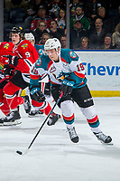 KELOWNA, CANADA - MARCH 2:  Ethan Ernst #19 of the Kelowna Rockets skates with the puck against the Portland Winterhawks on March 2, 2019 at Prospera Place in Kelowna, British Columbia, Canada.  (Photo by Marissa Baecker/Shoot the Breeze)