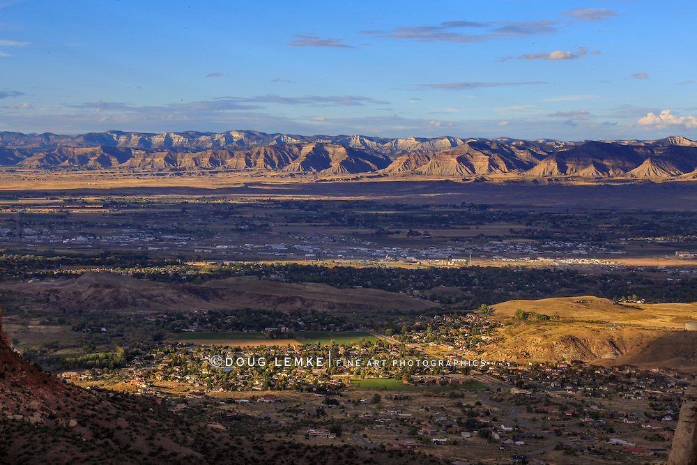 Grand Junction Colorado as seen from high up in the Colorado Narional Monument, Colorado, USA