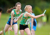 13 Aug 2016:  Leitrim handing the baton over in the U14 Mixed Distance Relay.  2016 Community Games National Festival 2016.  Athlone Institute of Technology, Athlone, Co. Westmeath. Picture: Caroline Quinn