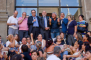 Rome, Italy. 1th September 2015<br /> Assembly of educators and teachers of kindergarten on the staircase of Vignola in the Capitol to protest the dismissals decided by Roma Capitale, of 5000 workers with precarious contracts. The Deputy Mayor of Rome, Marco Causi (with microphone) and near the commissioner for school, Marco Rossi Doria, speakers at the assembly.