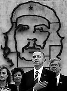 President Barack Obama against the backdrop of the revolutionary icon Che Guevara in Havana's famed Plaza of the Revolution on Monday, March 21, 2016. The visit of a sitting American President seemed unimaginable just 2 years ago.