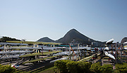 "Rio de Janeiro. BRAZIL.   General View of the boat racks, 2016 Olympic Rowing Regatta. Lagoa Stadium,<br /> Copacabana,  ""Olympic Summer Games""<br /> Rodrigo de Freitas Lagoon, Lagoa. Local Time 15:40:28   Friday  05/08/2016 <br /> <br /> [Mandatory Credit; Peter SPURRIER/Intersport Images]"