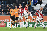 Hull City defender Andrew Robertson (26)  takes close range shot at goal  during the Sky Bet Championship match between Hull City and Brentford at the KC Stadium, Kingston upon Hull, England on 26 April 2016. Photo by Ian Lyall.
