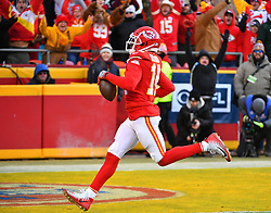 Jan 19, 2020; Kansas City, Missouri, USA;  Kansas City Chiefs wide receiver Sammy Watkins (14) scores a touchdown during the AFC Championship Game against the Tennessee Titans at Arrowhead Stadium. Mandatory Credit: Denny Medley-USA TODAY Sports