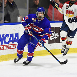 BUFFALO, NY - SEP 20,  2017: Ontario Junior Hockey League Governors Showcase game between the Toronto Jr. Canadiens and Wellington Dukes, Anton Trublin #47 of the Toronto Jr. Canadiens pursues the play during the first period.<br /> (Photo by Andy Corneau / OJHL Images)