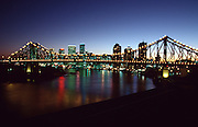 Downtown Brisbane and Story Bridge at sunset.