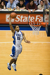 Duke guard/forward Gerald Henderson (15) dunks against Virginia. The Duke Blue Devils defeated the Virginia Cavaliers 87-65 in men's basketball at Cameron Indoor Stadium on the campus of Duke University in Durham, NC on January 13, 2008.