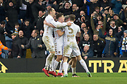Leeds celebrate as as Leeds United Midfielder Kemar Roofe scores to make it even 2-2 during the EFL Sky Bet Championship match between Leeds United and Millwall at Elland Road, Leeds, England on 20 January 2018. Photo by Craig Zadoroznyj.