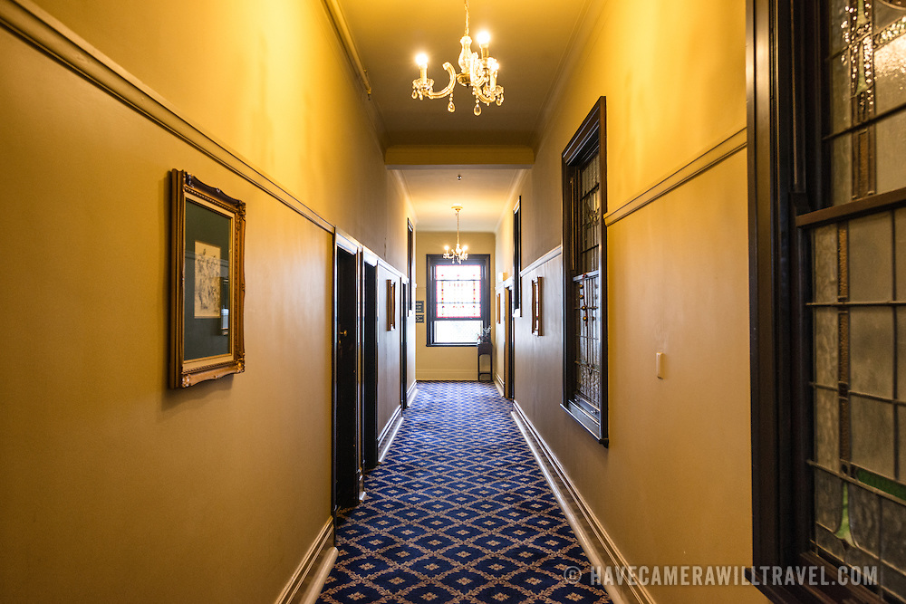 An corridor inside the historic Carrington Hotel in Katoomba in the Blue Mountains of New South Wales, Australia. The Carrington is an historic hotel established in 1880.
