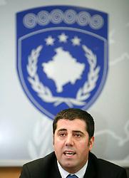 PRISTINA, KOSOVO - DECEMBER 14 - Haziri Lufti, namestnik premiera Cekuja na novinarski konferenci v vladni stavbi, kjer je odgovarjal na vprasanja slovenskih medijev o osamosvojitvi Kosova.