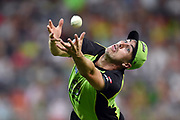 Pat Cummins of the Thunder fails to take a catch hit by Moises Henriques of the Sixers during the BBL T20 match between the Sydney Thunder and the Sydney Sixers at Spotless Stadium in Sydney on Tuesday, Dec. 20, 2016. (AAP Image/Paul Miller) NO ARCHIVING, EDITORIAL USE ONLY, IMAGES TO BE USED FOR NEWS REPORTING PURPOSES ONLY, NO COMMERCIAL USE WHATSOEVER, NO USE IN BOOKS WITHOUT PRIOR WRITTEN CONSENT FROM AAP