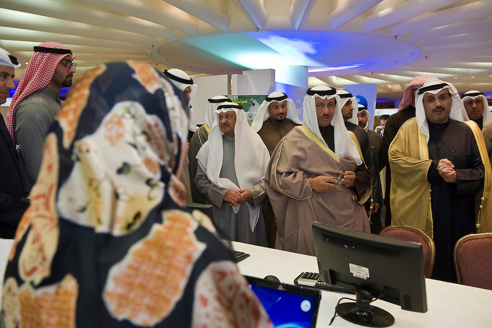 His Highness Sheikh Jaber Mubarak Al-Sabah, the Prime Minister, and top officials of the Ministry of Information near the workstations set-up for journalists during a Jan. 25 tour of the elections media center in Kuwait City. Kuwaitis head to the polls on Feb. 2, 2012 to vote for a new 50-member National Assembly (parliament).