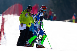 KRANJECZan of Slovenia and Mitja Kunc, coach, during the 1st Run of Men's Slalom - Pokal Vitranc 2014 of FIS Alpine Ski World Cup 2013/2014, on March 9, 2014 in Vitranc, Kranjska Gora, Slovenia. Photo by Matic Klansek Velej / Sportida