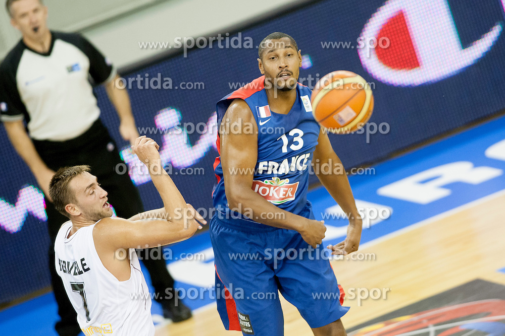Boris Diaw #13 of France training to pass the ball during basketball match between National teams of France and Belgium at Day 6 of Eurobasket 2013 on September 9, 2013 in Tivoli Hall, Ljubljana, Slovenia. (Photo By Urban Urbanc / Sportida)