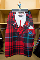 KELOWNA, CANADA - MARCH 10: Don Cherry bobble head stands in the locker on March 10, 2018 at Prospera Place in Kelowna, British Columbia, Canada.  (Photo by Marissa Baecker/Shoot the Breeze)  *** Local Caption ***