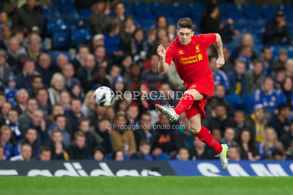 LONDON, ENGLAND - Friday, April 19, 2013: Liverpool's Jack Dunn in action against Chelsea during the FA Youth Cup Semi-Final 2nd Leg match at Stamford Bridge. (Pic by David Rawcliffe/Propaganda)