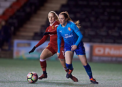 WIDNES, ENGLAND - Wednesday, February 7, 2018: Liverpool's Alicia Johnson and Arsenal Ladies' Leah Williamson during the FA Women's Super League 1 match between Liverpool Ladies FC and Arsenal Ladies FC at the Halton Stadium. (Pic by David Rawcliffe/Propaganda)