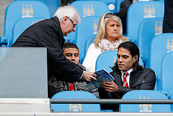 Radamel Falcao Garcia of Manchester United siggs an autograph from his seat in the stand - Photo mandatory by-line: Rogan Thomson/JMP - 07966 386802 - 02/11/2014 - SPORT - FOOTBALL - Manchester, England - Etihad Stadium - Manchester City v Manchester United - Barclays Premier League.