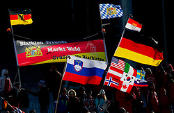 German and Slovenian fans during the Men 20 km Individual of the e.on IBU Biathlon World Cup on Thursday, December 16, 2010 in Pokljuka, Slovenia. The fourth e.on IBU World Cup stage is taking place in Rudno Polje - Pokljuka, Slovenia until Sunday December 19, 2010.  (Photo By Vid Ponikvar / Sportida.com)