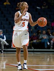 Virginia guard Sharnee Zoll (5) calls a play on offense.  The Virginia Cavaliers women's basketball team defeated the Rhode Island Rams 89-53 at the John Paul Jones Arena in Charlottesville, VA on January 9, 2008.