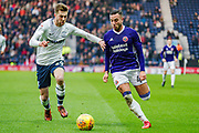 Preston North End Tom Barkhuizen (29) and Sheffield United Samir Carruthers (44) during the EFL Sky Bet Championship match between Preston North End and Sheffield Utd at Deepdale, Preston, England on 16 December 2017. Photo by Michał Karpiczenko.